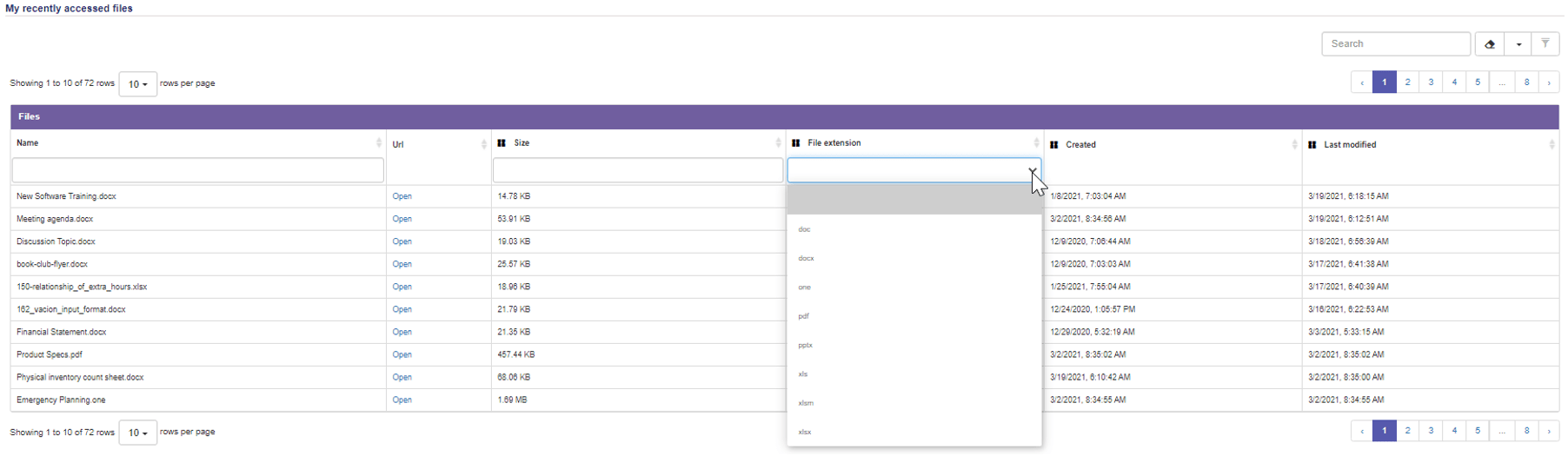 Recent Files Filter