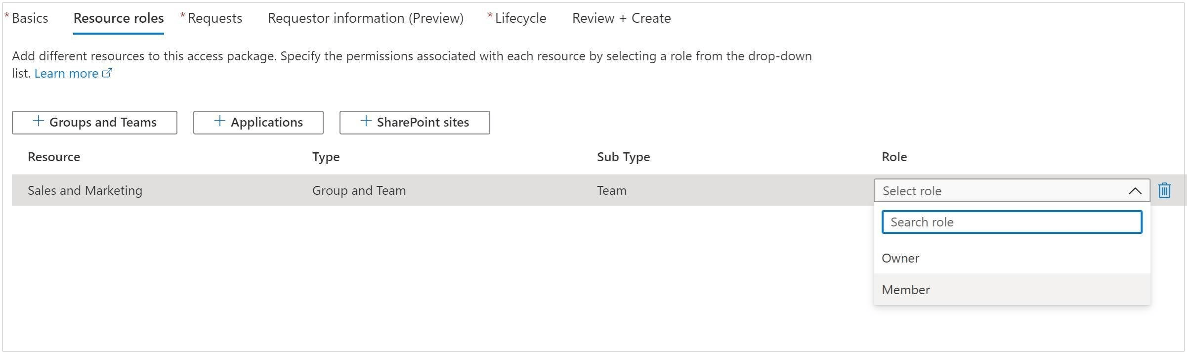 Set Resources and associated permissions